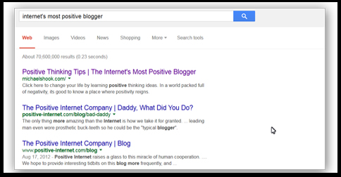 internet's most positive blogger search results